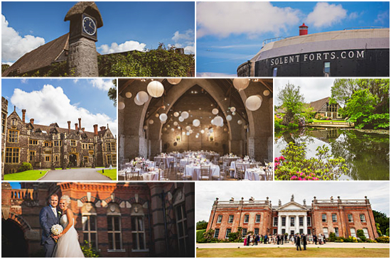 Collage of wedding venues from Hampshire