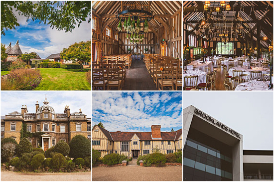 Collage of wedding venues from Surrey
