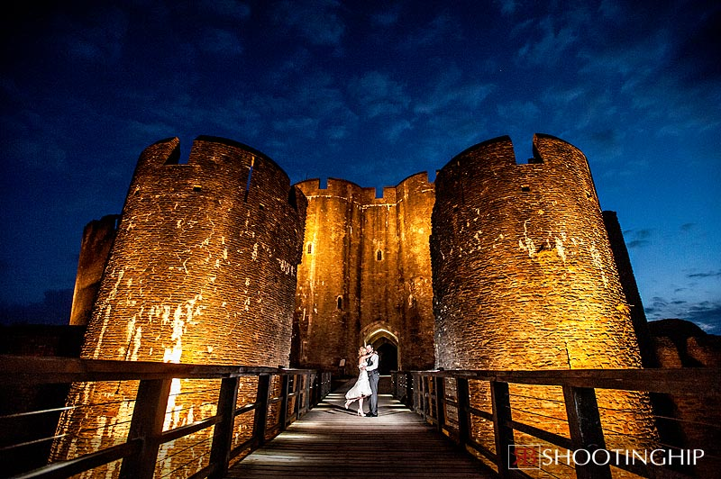 Dramatic wedding photography at Caerphilly castle