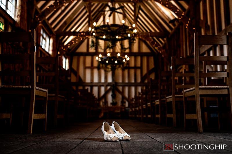Wedding shoes inside Gate Street Barn