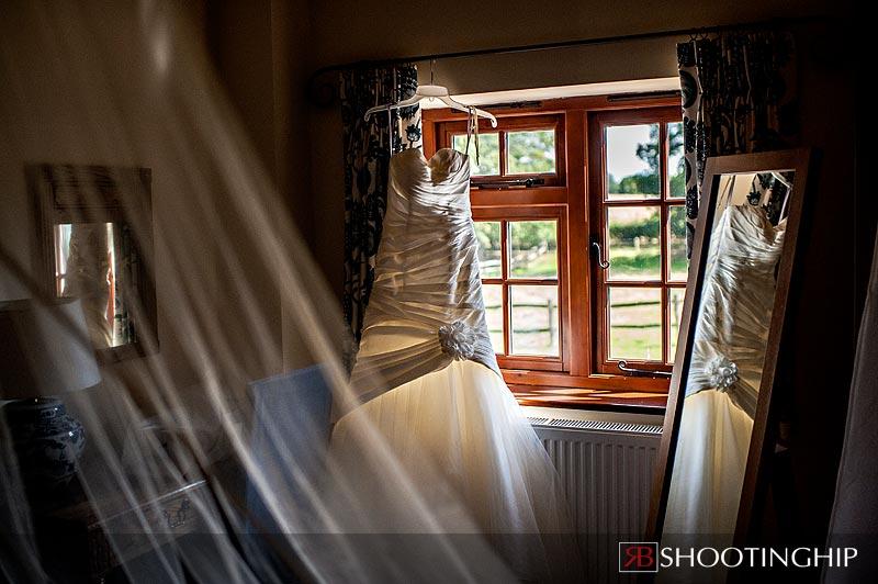 Wedding dress in Brides Room at Gate Street Barn