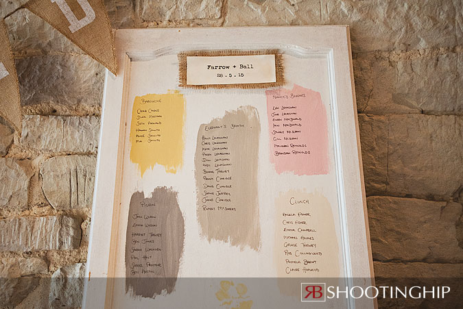 Farrow and Ball Wedding Idea Table Plan Example at Tithe Barn