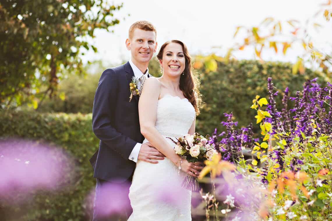 Wedding couple at Farbridge Barns