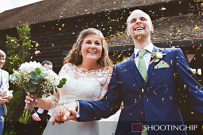Bride and Groom Confetti at Gate Street Barn