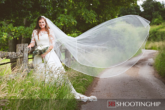Bride in Veil at Gate Street Barn