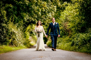 classic country lane by a tithe barn wedding photographer
