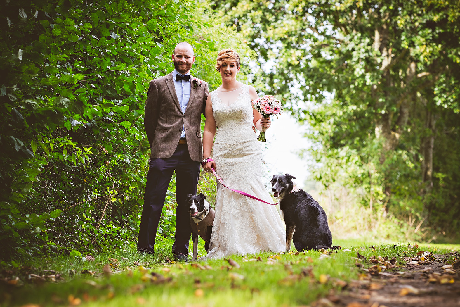 wedding couple with dogs at tithe barn