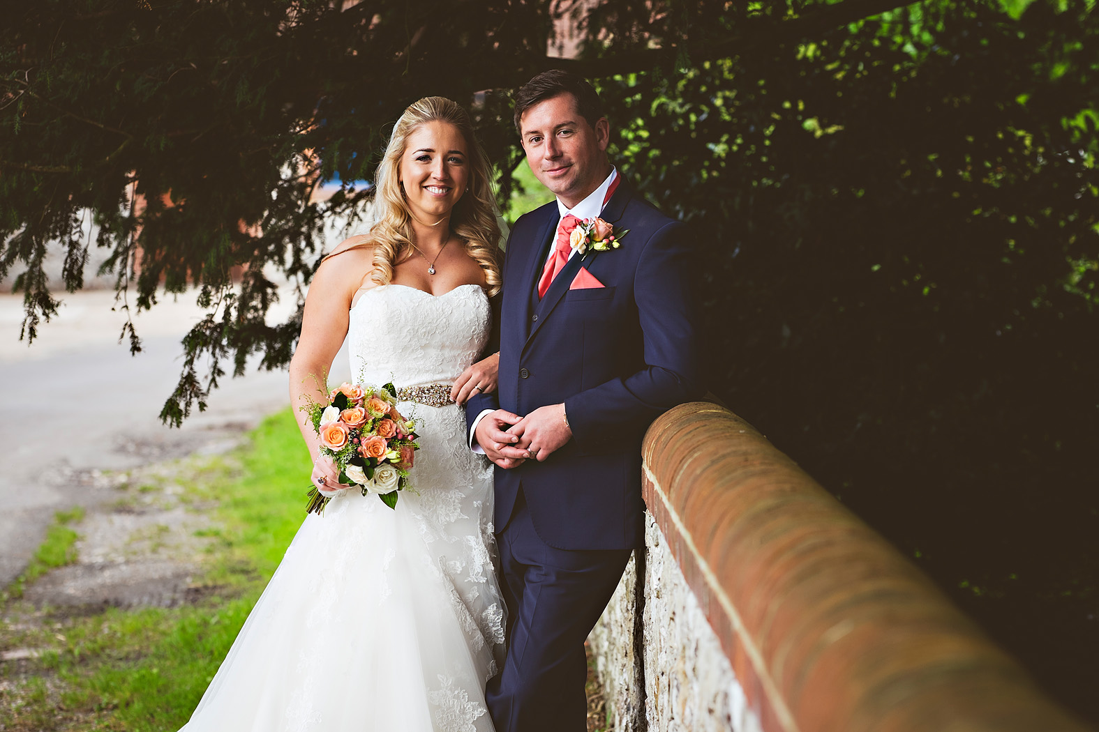 louise and david couple portrait at tithe barn