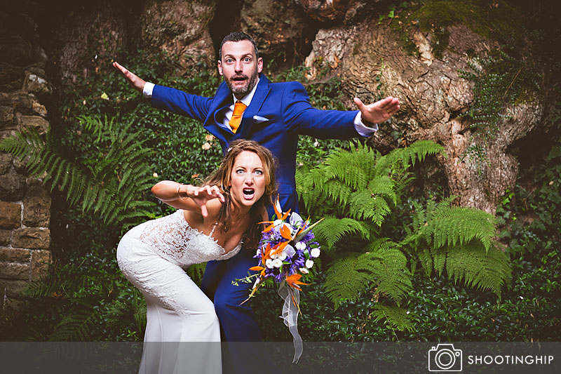 Bride and Groom Funny portrait at Ramster