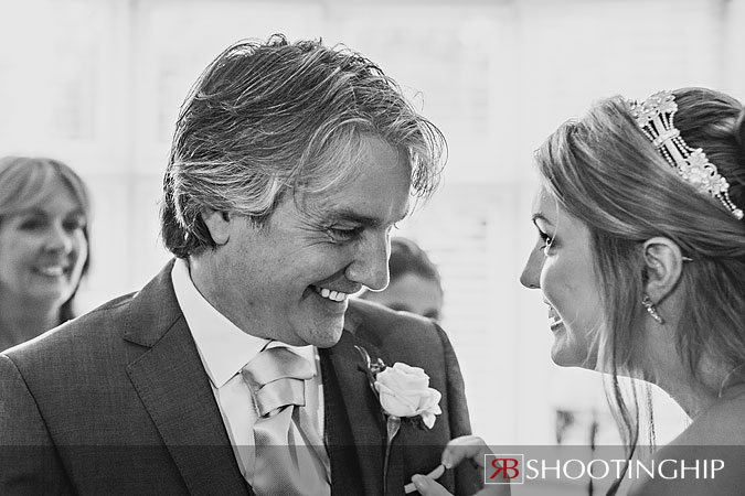 Father sees Bride at Tithe Barn