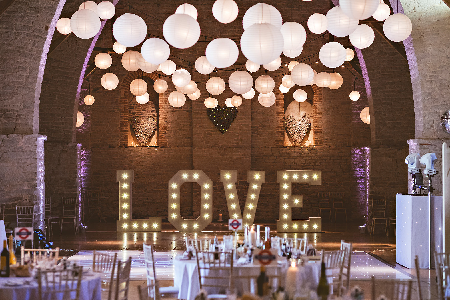example of interior by tithe barn wedding photographer