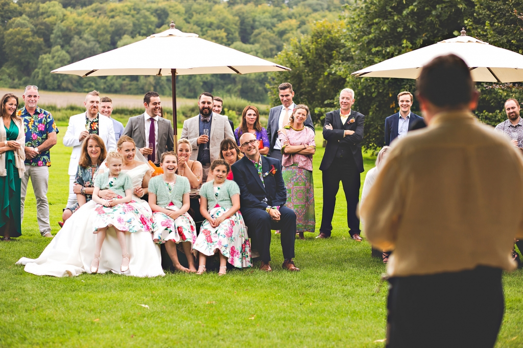 outdoor wedding speech at Tithe Barn