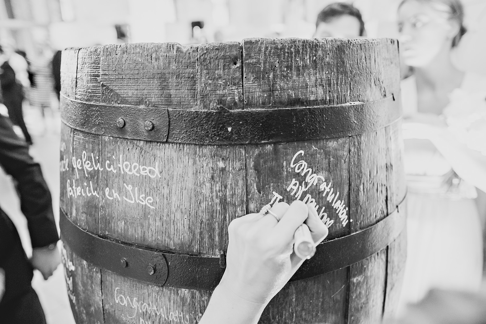 whiskey barrel signing board