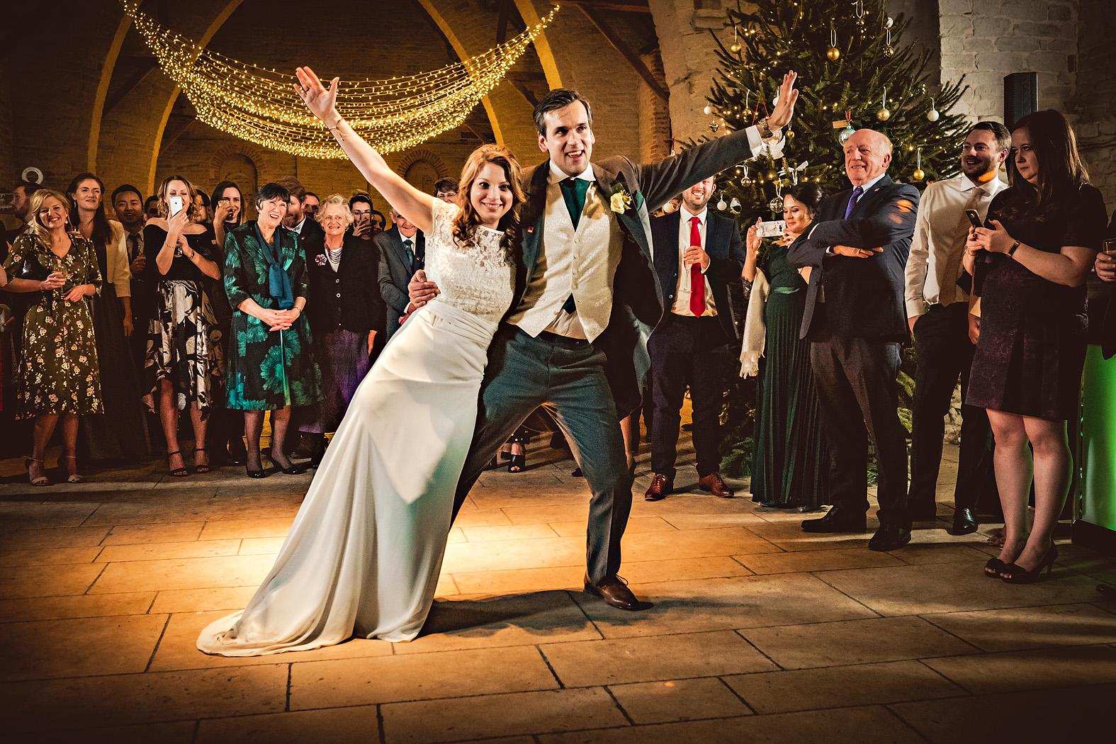 holly and daniel a christmas wedding at tithe barn hampshire