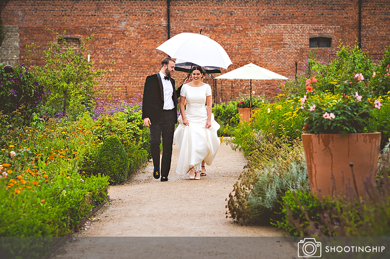 Rain on a wedding umbrella