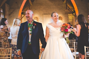Wedding couple in Tithe Barn