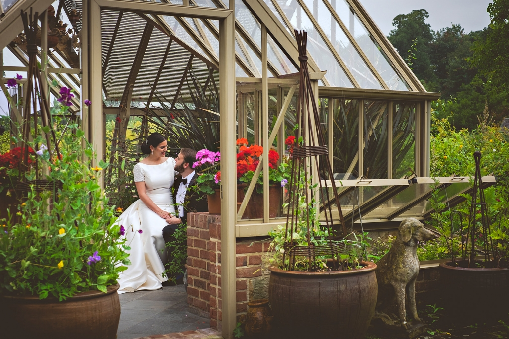 bride and groom greenhouse at cowdray park