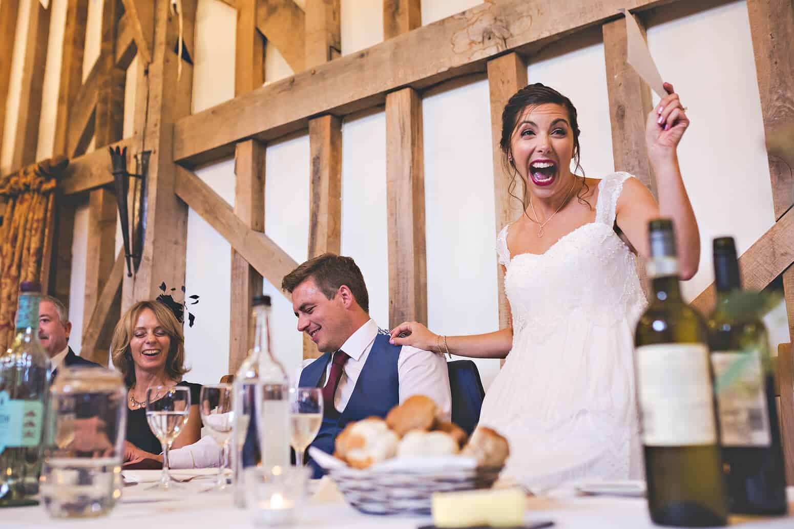 Brides speech at Gate Street Barn