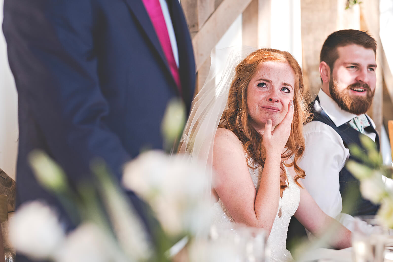 Bride crying during speech at Gate Street Barn