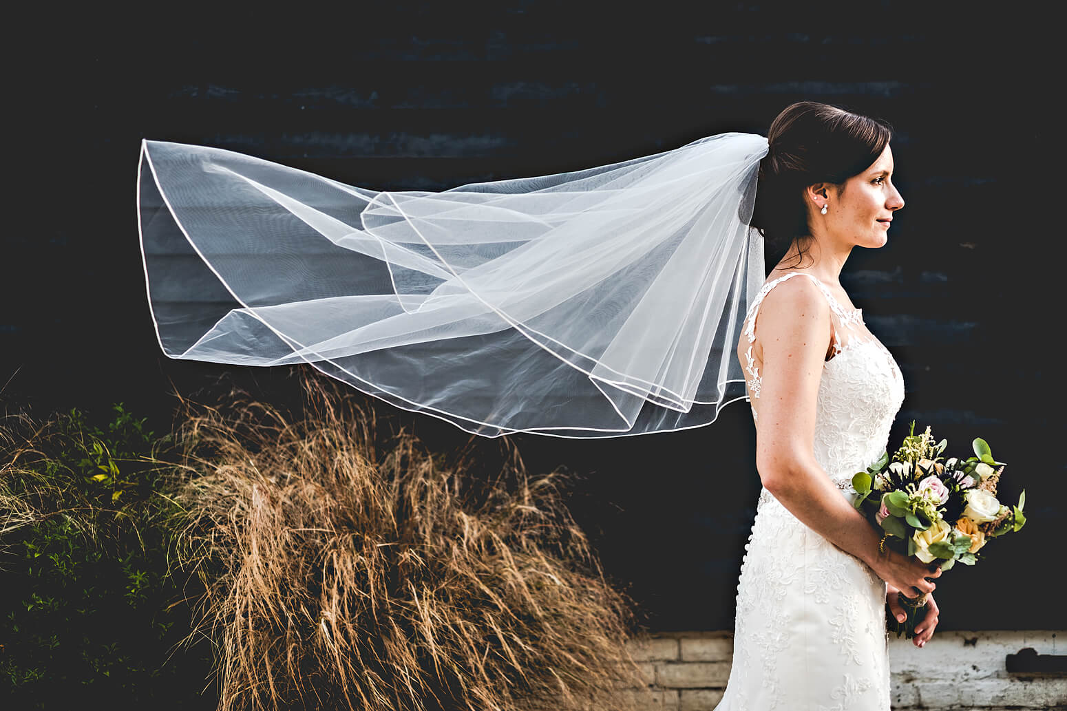 Bride and veil at Gate Street Barn