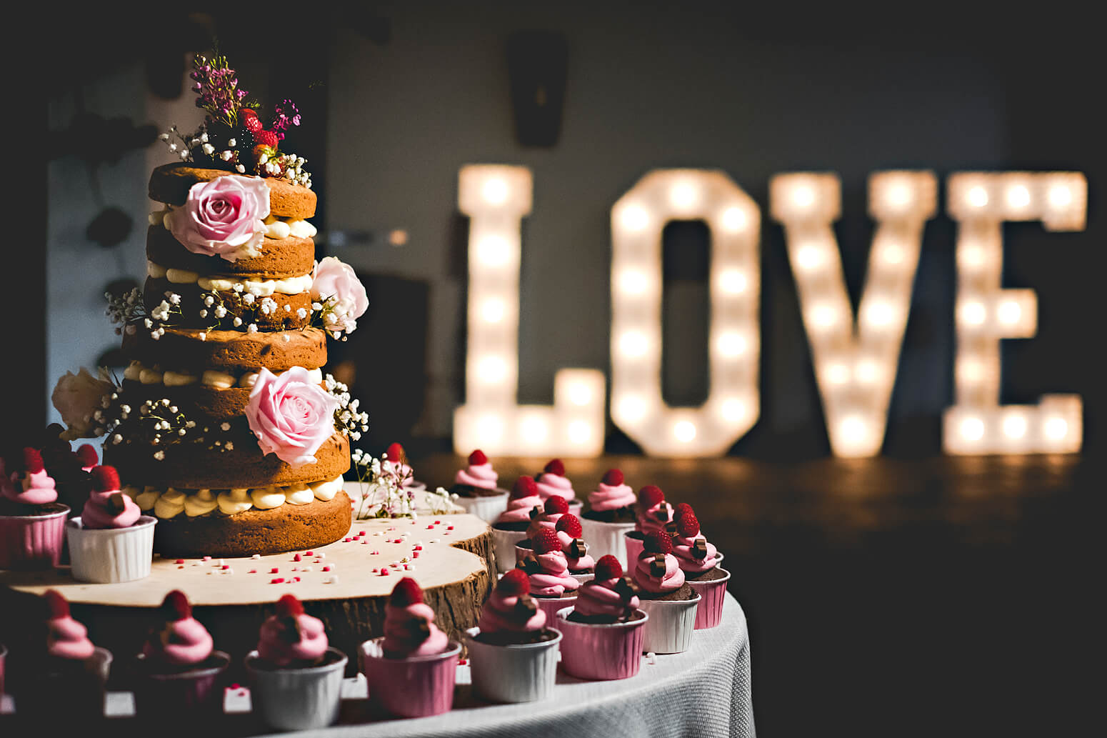 LOVE sign and wedding cake