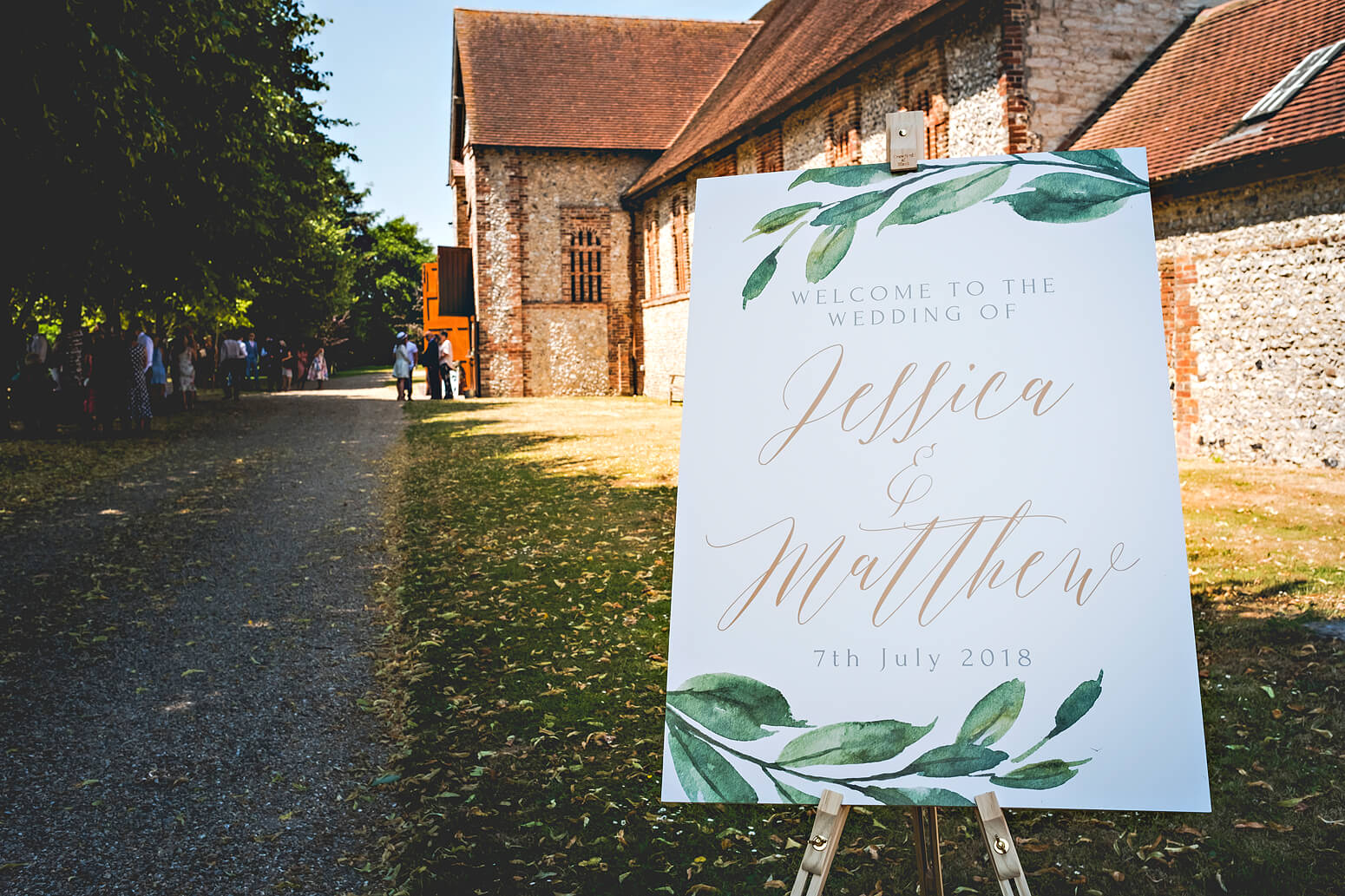 Welcome sign at Tithe Barn