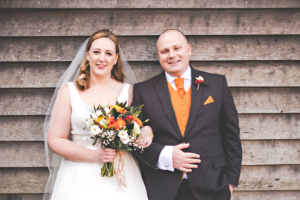 Bride and Groom at Tithe Barn