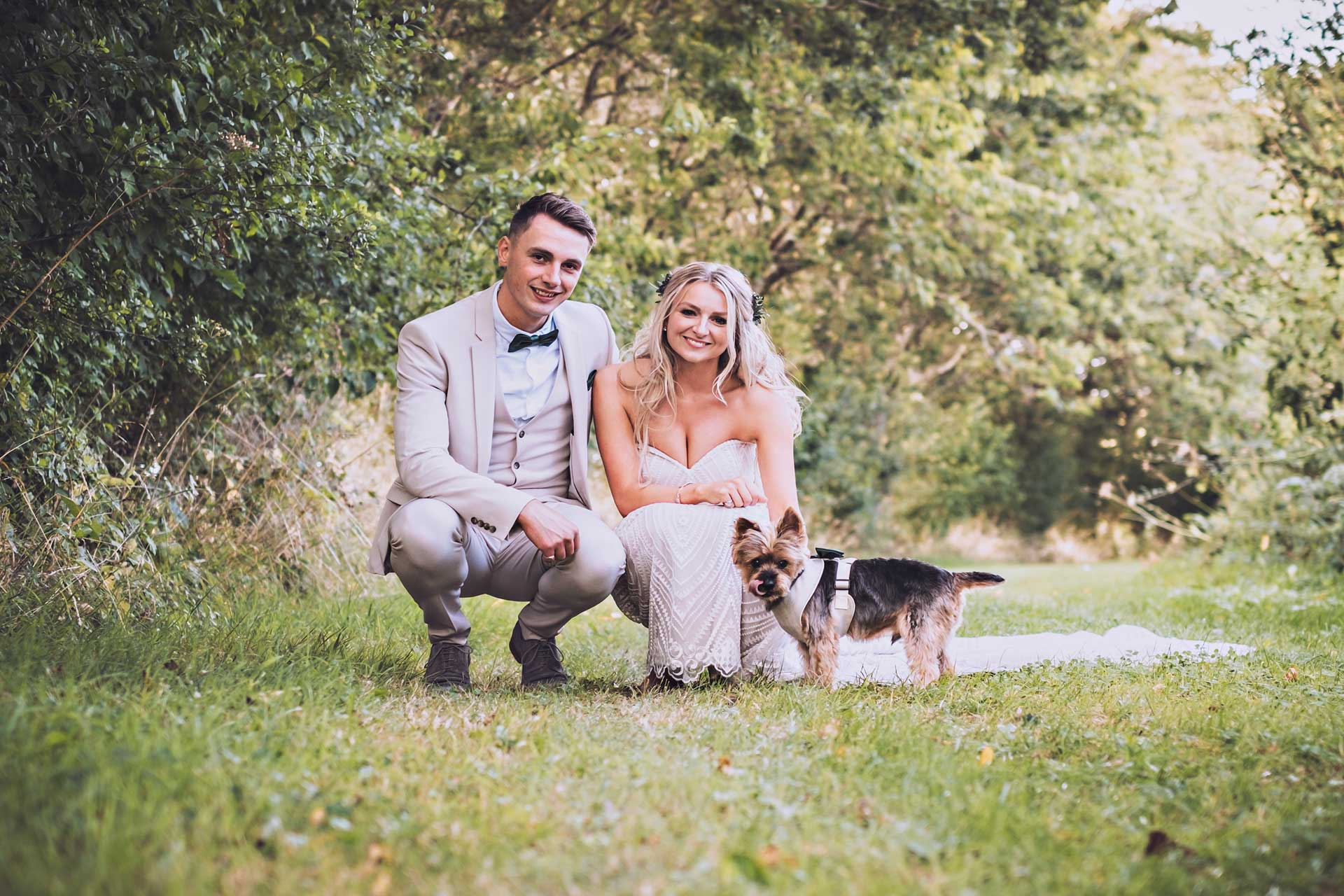 Bride, Groom and Dog at Tithe Barn