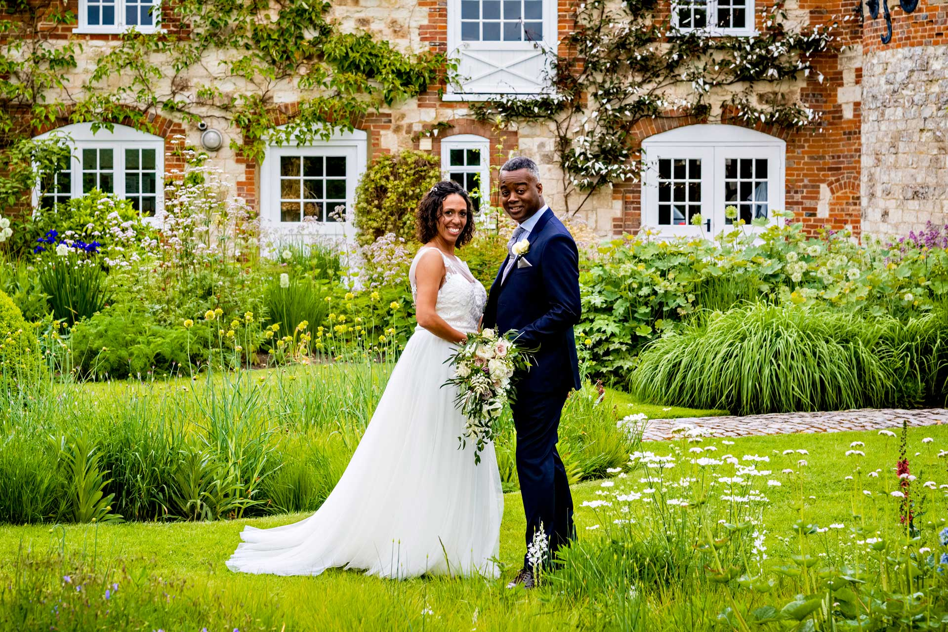 Bride and Groom at Bury Court Barn